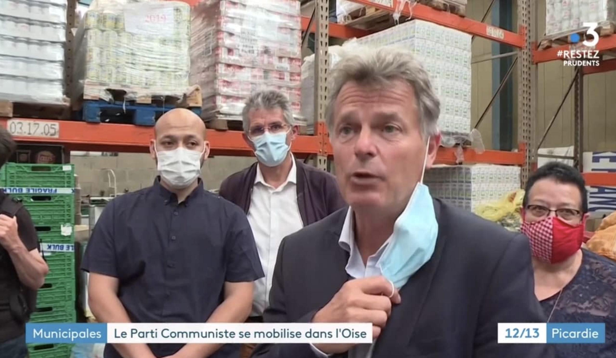 Urgence sociale : Loïc Pen, Nellie Rochex et Fabien Roussel au Secours populaire